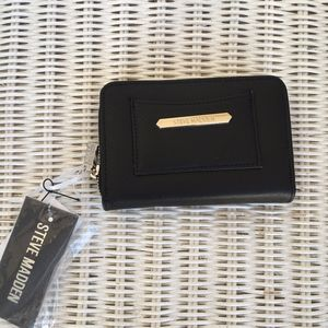 Steve Madden Black & Red Zip & Snap Wallet Gold